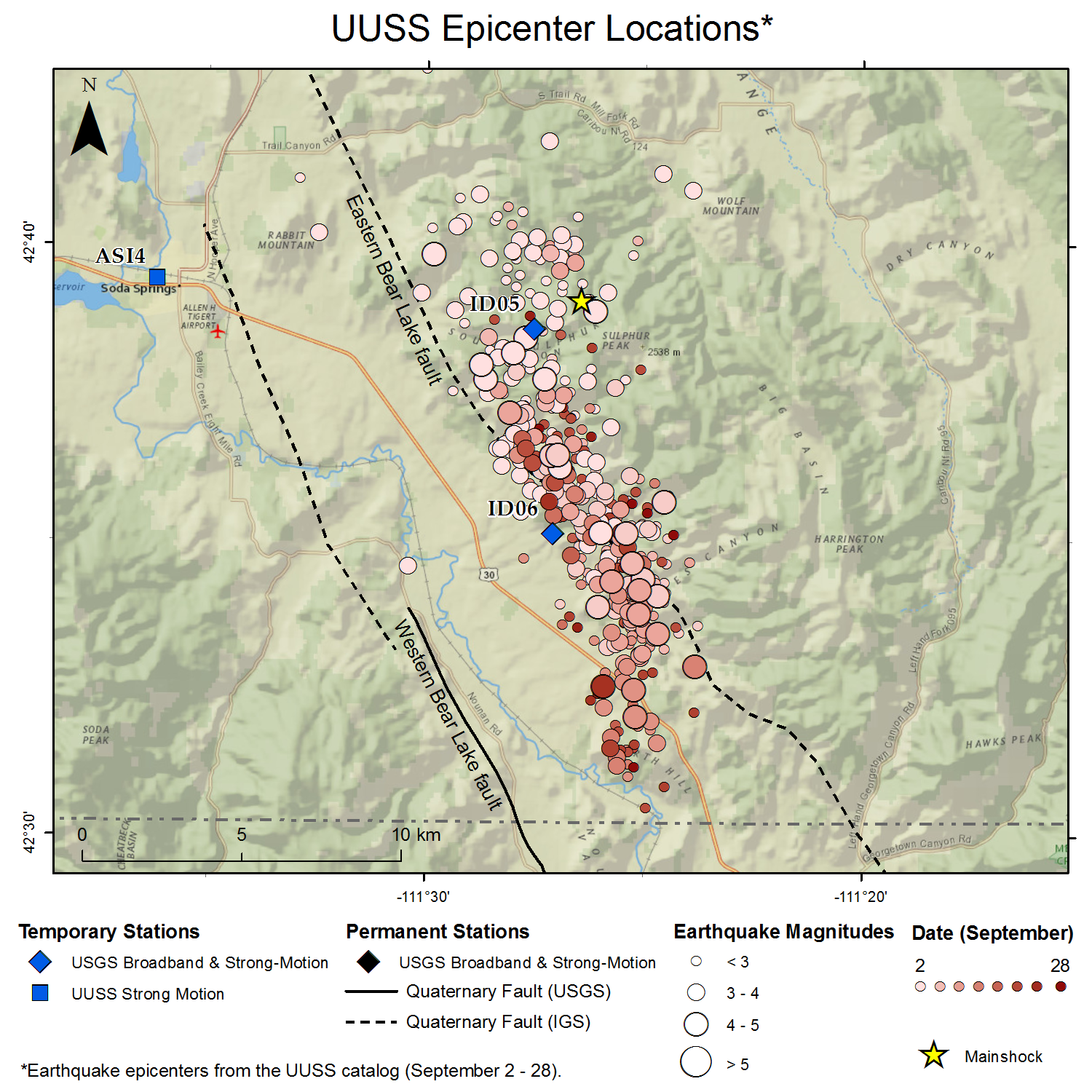 Sulphur peak earthquake u of u seismograph stations map showing epicenters for the sulphur peak sequence from the uuss catalog as circles with size proportional to magnitude and color coded by date see key gumiabroncs Choice Image