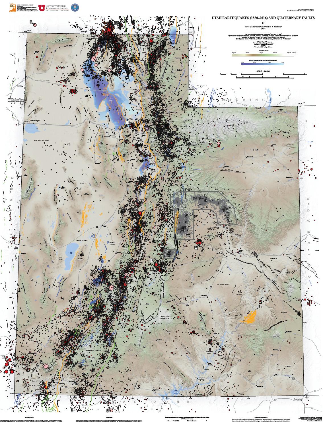 Utah Earthquake Map Catalog | U of U Seismograph Stations