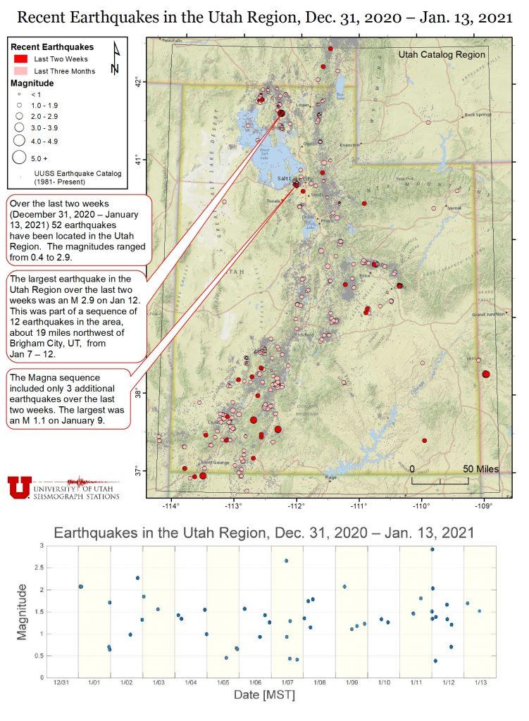 Recent Earthquakes in the utah region Dec 31, 2020 - Jan 13, 2021