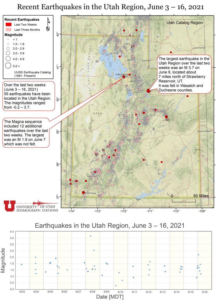 Recent Earthquakes in the Utah Region, June 3 – 16, 2021